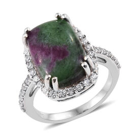 Ruby Zoisite (Cush 14x10 mm), Natural Cambodian Zircon Ring in Platinum Overlay Sterling Silver 10.0
