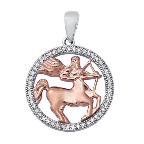 ELANZA Simulated Diamond Zodiac-Sagittarius Pendant in Plain and Rose Gold Overlay Sterling Silver