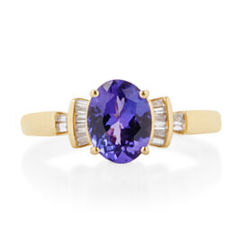 ILIANA 18K Yellow Gold Tanzanite (Ovl), Diamond Ring 2.050 Ct.