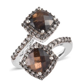 Zawadi Golden Sheen Sapphire (Cush 7x7 mm), Brown Zircon Bypass Ring in Platinum and Black Rhodium O