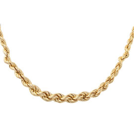 JCK Vegas Collection Yellow Gold Overlay Sterling Silver Graduated Rope Necklace (Size 18 with 2 inc
