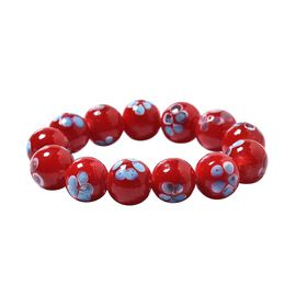 Millefiori Collection Red Colour Murano Style Glass Stretchable Beaded Bracelet 7 Inch
