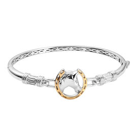 Horse Bangle in Platinum and Gold Plated 7.5 Inch