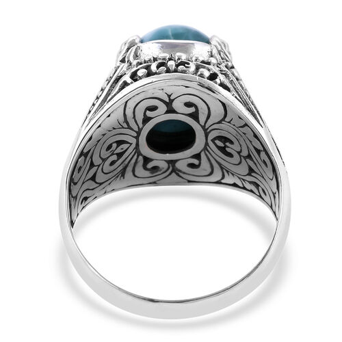 Hand Made Larimar (Ovl 14x10 mm) Filigree Design Ring in Sterling Silver 6.50 Ct, Silver wt 6.80 Gms