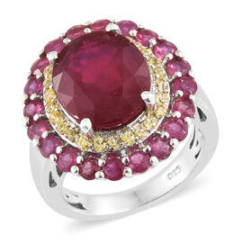 Limited Edition - Very Rare Size  African Ruby (Ovl) and Yellow Sapphire Ring in Platinum Overlay St
