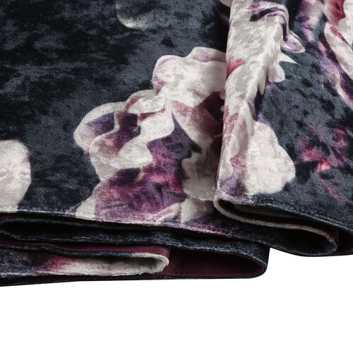 Sateen Lined Crushed Velvet Table Runner with Gardenia Print and Tassels (Size 40x160 cm)