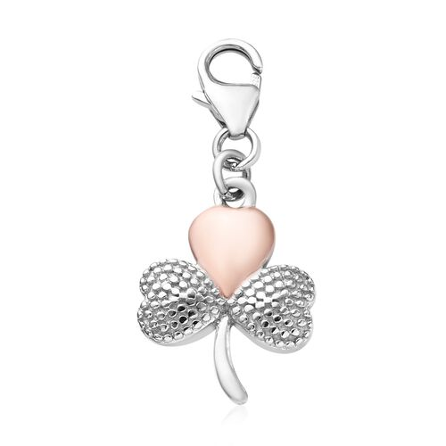 Shamrock Leaf Charm in Platinum and Rose Gold Plated 925 Sterling Silver