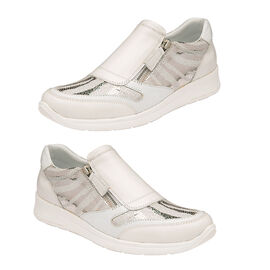 LOTUS Sian Leopard Print Slip On Trainers (Size 3) - White