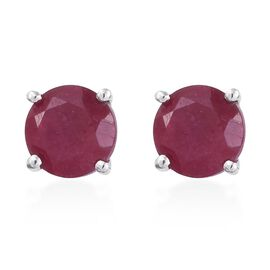 AA African Ruby (2.25 Ct) 9K W Gold Earring  2.250  Ct.