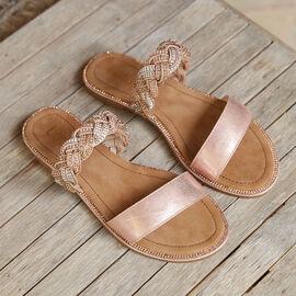 Lotus Pink and Diamante Josie Mule Sandals