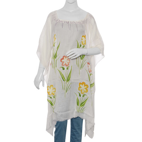 White, Yellow and Multicolour Beach Tree Pattern Kaftan (Free Size)