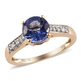 GP 1.67 Ct Tanzanite, Diamond and Blue Sapphire Solitaire Ring in 9K Gold