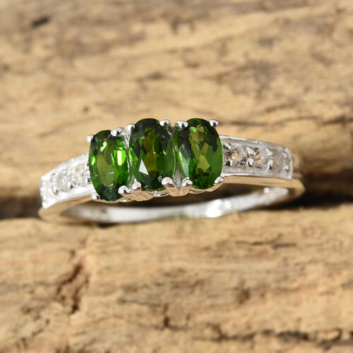 One Time Deal-Russian Diopside (Ovl), White Topaz Ring in Sterling Silver 1.000 Ct.