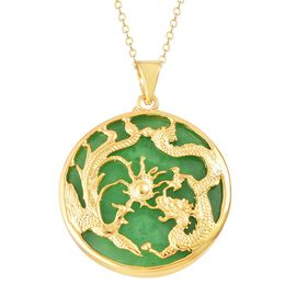 Green Jade Dragon and Phoenix Pendant with Chain in 14K Gold Overlay Sterling Silver 15.000 Ct.