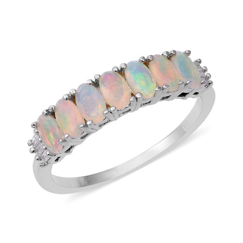 1 Carat Ethiopian Opal and Diamond Ring in Rhodium Plated Sterling Silver