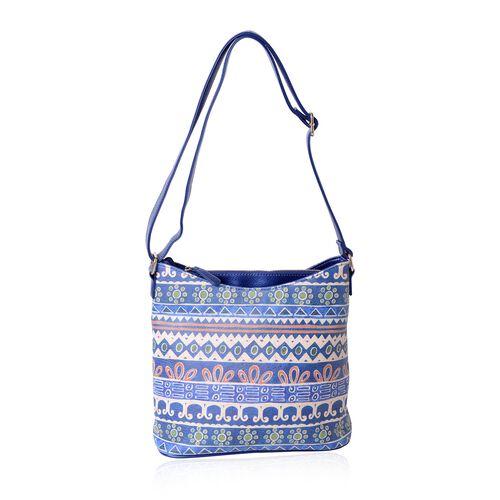 WaterProof Blue and Multi Colour Santa Fe Pattern Digital Printed Shoulder Bag (Size 28.5x28.5x14 Cm)