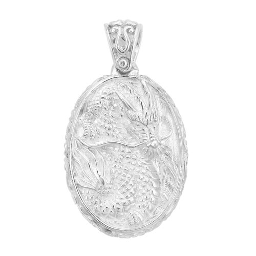 Princess Bali Collection - Ox-Bone Dragon Carved Pendant in Sterling Silver, Silver wt. 8.21 Gms