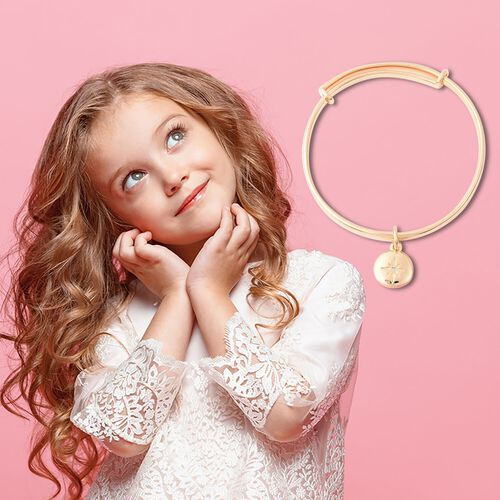 RACHEL GALLEY Diamond Kids Bangle (Size 4.95) with Star Charm in Yellow Gold Overlay Sterling Silver, Silver wt 10.00 Gms