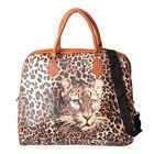 Brown Colour Leopard Pattern Water Resistant Tote Bag (Size 43x16x38 Cm) with Zipper Closure and Det