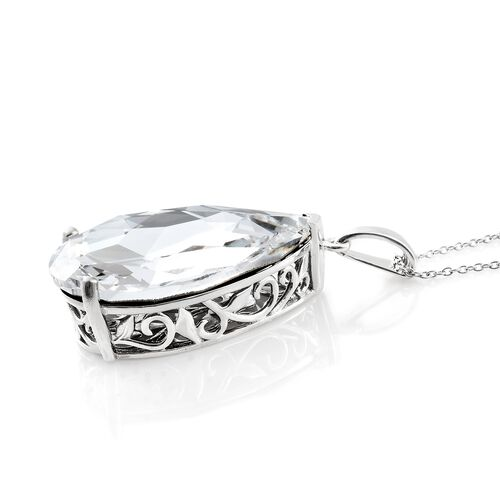 J Francis Crystal from Swarovski - White Colour Crystal (Pear 40x27 MM) Pendant with Chain in Platinum Overlay Sterling Silver, Silver wt 12.38 Gms.