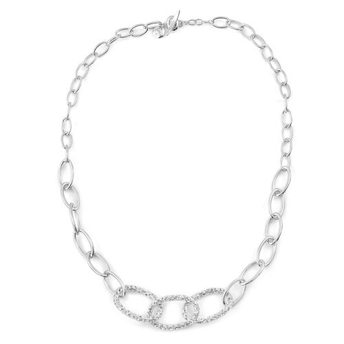 RACHEL GALLEY Rhodium Plated Sterling Silver Necklace (Size 20), Silver wt 36.14 Gms.