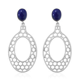 GP Lapis Lazuli (Ovl 2.45 Ct), Kanchanaburi Blue Sapphire Earrings (with Push Back) in Platinum Overlay Sterling Silver 2.500 Ct, Silver wt 6.51 Gms.