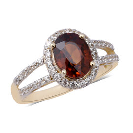 AAA Red Zircon and Cambodian Zircon Halo Ring in 9K yellow Gold