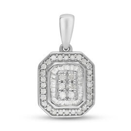 Diamond Cluster Pendant in Platinum Overlay Sterling Silver 0.50 Ct.