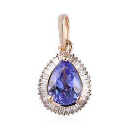 1.25 Ct Tanzanite and Diamond Halo Pendant in 9K Yellow Gold