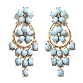 Larimar (Ovl), Natural Cambodian Zircon Flower Dangle Earrings (with Push Back) in 14K Gold Overlay Sterling Silver 33.000 Ct. Silver wt 16.00 Gms.