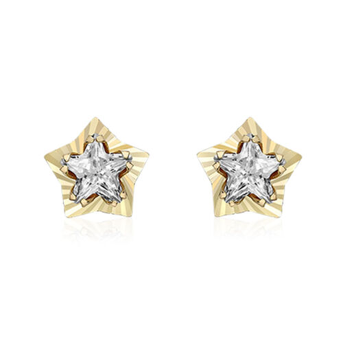 9K Yellow Gold, Simulated Diamond Star-Shaped Stud Earrings (with Push Back)