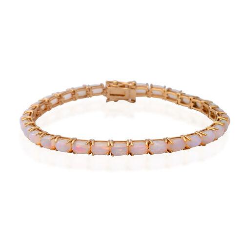 12.44 Ct Ethiopian Welo Opal Tennis Bracelet in Gold Plated Sterling Silver 9.20 Grams 8 inch