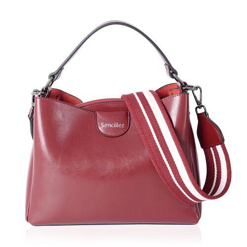 SENCILLEZ 100% Genuine Leather Cherry Colour Satchel Bag with Removable Shoulder Strap (Size 27x19x1