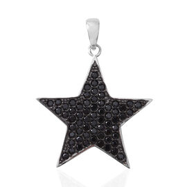 Boi Ploi Black Spinel (Rnd) Star Pendant in Rhodium Overlay with Black Plating Sterling Silver 2.331 Ct.