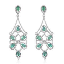 5.65 Ct Kegem Zambian Emerald Chandelier Earrings in Rhodium Plated Silver 13 grams