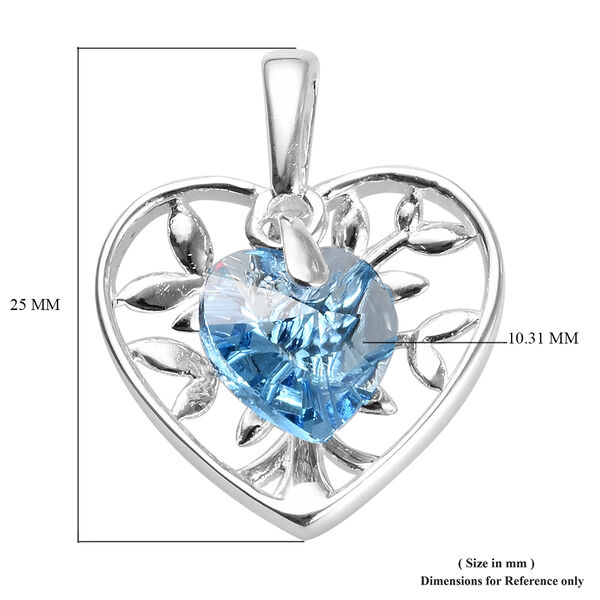J Francis - Crystal from Swarovski Aquamarine Colour Crystal (Hrt) Pendant in Sterling Silver