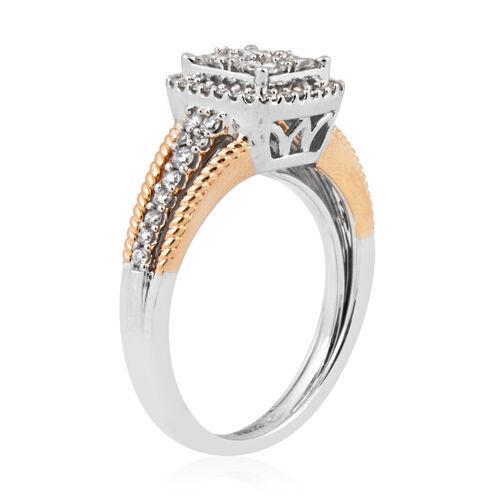 14K Rose and White Gold (I1-I2/G-H) Diamond (Sqr) Ring 0.760 Ct, Gold wt 5.20 Gms.
