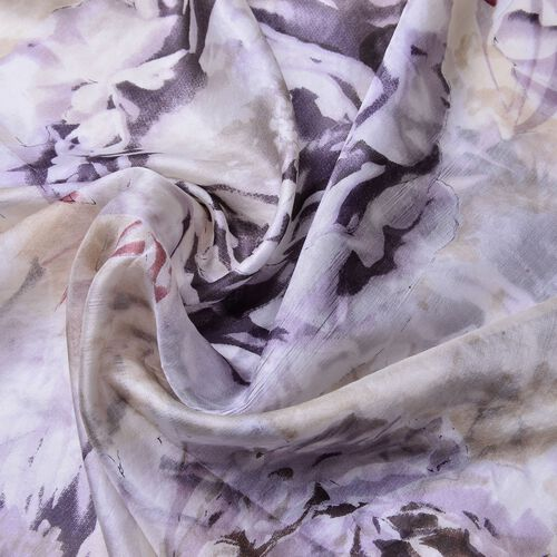 100% Mulberry Silk Grey, Black and Off White Colour Floral Pattern Scarf (Size 180X110 Cm)