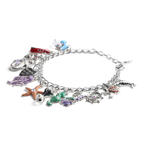 Charms De Memoire - Simulated White Topaz and Multi Colour Austrian Crystal Multi-Charm Enamelled Curb Bracelet (Size 7.5 with 1.5 inch Extender) in Silver Tone
