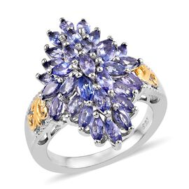 Tanzanite (Mrq) Cluster Ring (Size R) in Platinum and Yellow Gold Overlay Sterling Silver 2.25 Ct, Silver wt