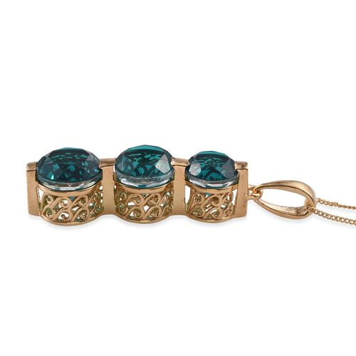 Capri Blue Quartz (Rnd 4.35 Ct) 3 Stone Pendant With Chain in 14K Gold Overlay Sterling Silver 9.850 Ct.