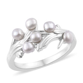 Fresh Water Pearl (1.00 Ct) Platinum Overlay Sterling Silver Ring  1.000  Ct.