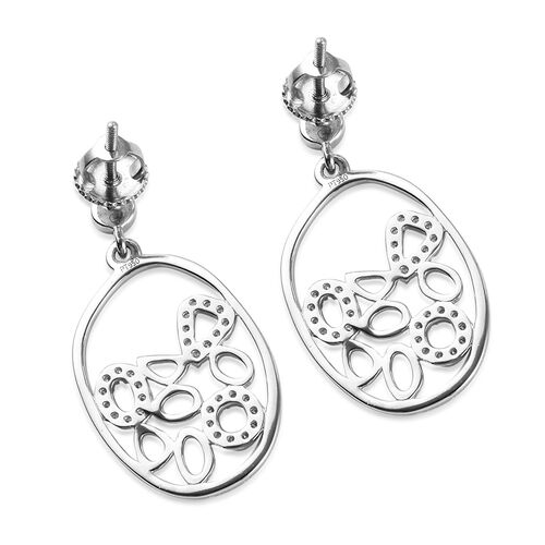 RACHEL GALLEY 950 Platinum IGI Certified White Diamond (VS/E-F) Dangling Earrings (With Screw Back) 0.33 Ct.