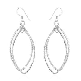 Designer Inspired- High polished Sterling Silver Hook Earrings, Silver wt 5.00 Gms.
