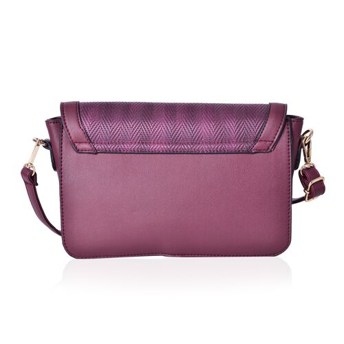 Burgundy Colour Crossbody Bag with Horse Bit at Front and Adjustable and Removable Shoulder Strap (Size 24X16X6.5 Cm)