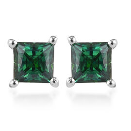 J Francis Platinum Overlay Sterling Silver Stud Earrings (with Push Back) Made with Green SWAROVSKI