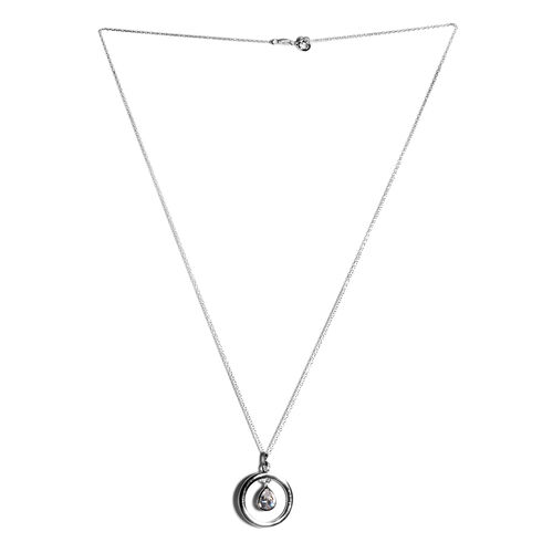 ELANZA Simulated Diamond (Pear) Pendant with Chain in Rhodium Plated Sterling Silver, Silver wt 3.10 Gms.