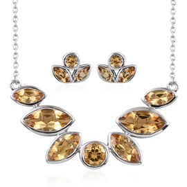 Citrine (Mrq), Necklace with Chain (Size 18) and Stud Earrings (with Push Back) in Platinum Overlay