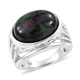 12.50 Ct Ruby Zoisite Solitaire Ring in Platinum Plated Silver 6 Grams