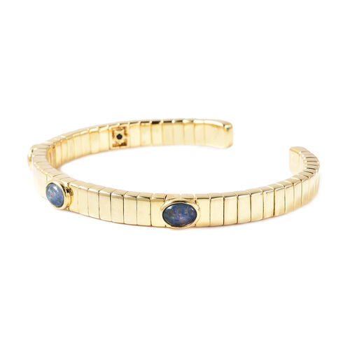 GP Australian Boulder Opal and Blue Sapphire Bangle (Size 7.5) in Yellow Gold Overlay Sterling Silver 1.97 Ct, Silver wt. 32.92 Gms